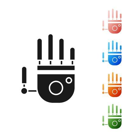 Icône de main de robot mécanique noir isolé sur fond blanc. Symbole de bras robotique. Notion technologique. Définir des icônes colorées. Illustration vectorielle Vecteurs