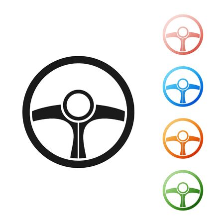 Black Steering wheel icon isolated on white background. Car wheel icon. Set icons colorful. Vector Illustration Illustration