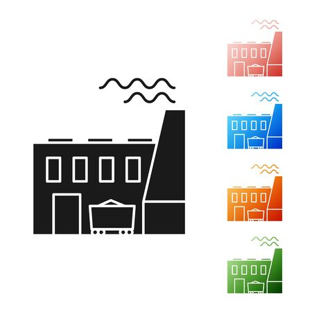 Black Coal power plant and factory icon isolated on white background. Energy industrial concept. Coal power station. Set icons colorful. Vector Illustration Иллюстрация
