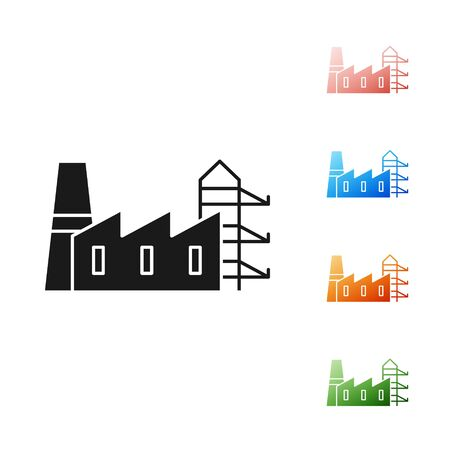 Black Power station plant and factory icon isolated on white background. Energy industrial concept. Set icons colorful. Vector Illustration