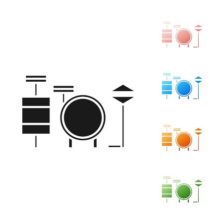 Black Drums icon isolated on white background. Music sign. Musical instrument symbol. Set icons colorful. Vector Illustration Illustration