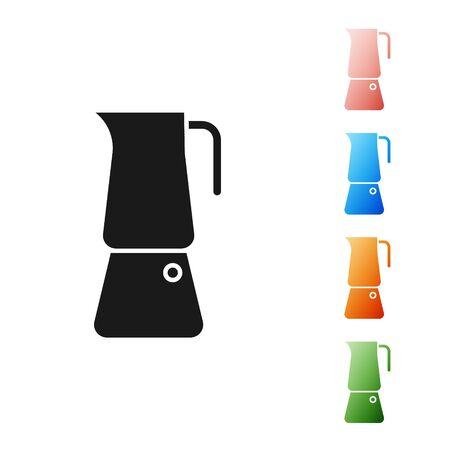 Black Moka pot icon isolated on white background. Coffee maker. Set icons colorful. Vector Illustration Vettoriali