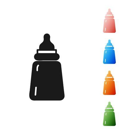 Black Baby bottle icon isolated on white background. Feeding bottle icon. Milk bottle sign. Set icons colorful. Vector Illustration Illustration
