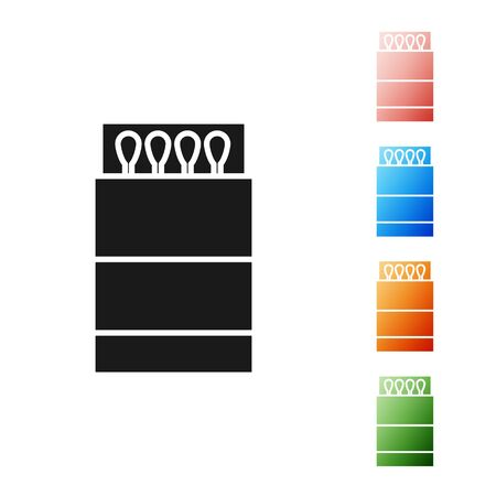 Black Open matchbox and matches icon isolated on white background. Set icons colorful. Vector Illustration Illusztráció