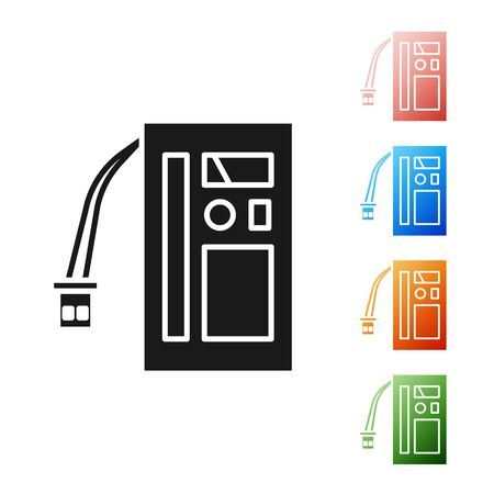 Black Battery icon isolated on white background. Accumulator battery energy power and electricity accumulator battery. Set icons colorful. Vector Illustration Иллюстрация