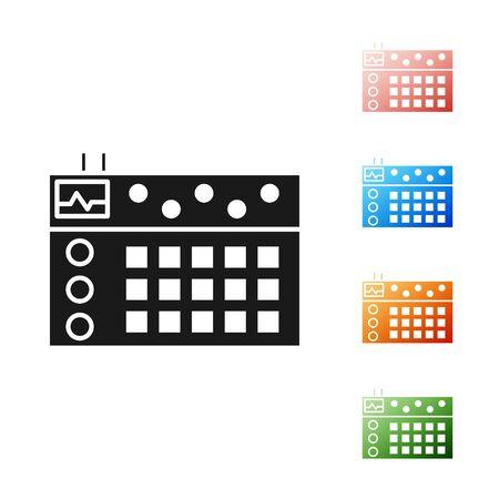 Icône de boîte à rythmes noir isolé sur fond blanc. Matériel musical. Définir des icônes colorées. Illustration vectorielle Vecteurs