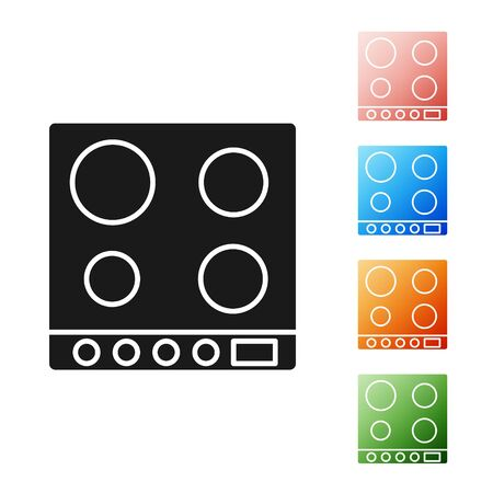Black Gas stove icon isolated on white background. Cooktop sign. Hob with four circle burners. Set icons colorful. Vector Illustration Standard-Bild - 134576826