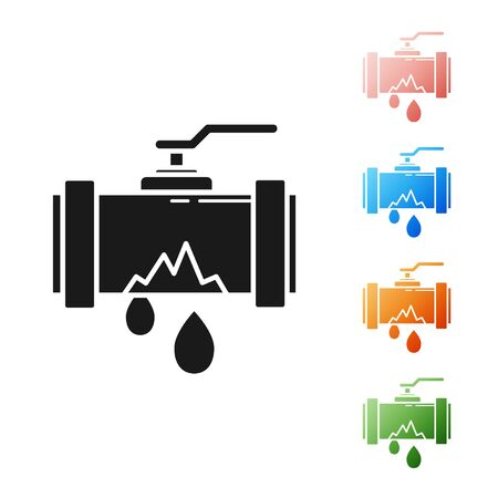 Black Broken metal pipe with leaking water icon isolated on white background. Set icons colorful. Vector Illustration