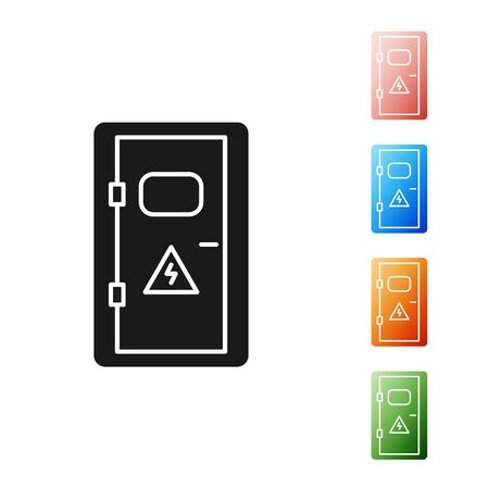 Black Electrical cabinet icon isolated on white background. Set icons colorful. Vector Illustration