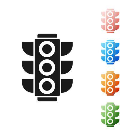 Black Traffic light icon isolated on white background. Set icons colorful. Vector Illustration
