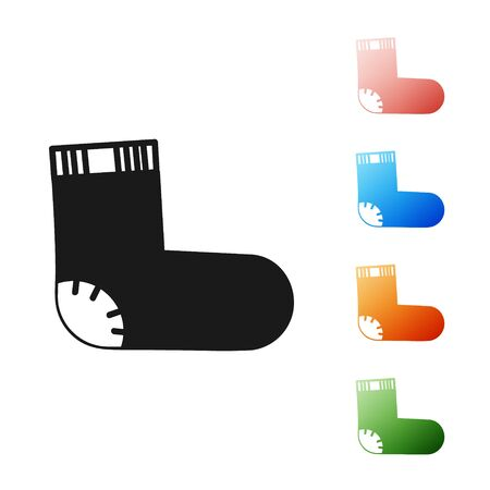 Black Baby socks clothes icon isolated on white background. Set icons colorful. Vector Illustration