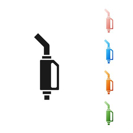 Black Gasoline pump nozzle icon isolated on white background. Fuel pump petrol station. Refuel service sign. Gas station icon. Set icons colorful. Vector Illustration