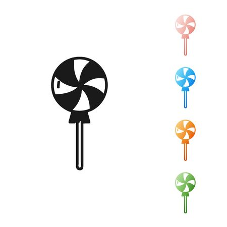 Black Lollipop icon isolated on white background. Candy sign. Food, delicious symbol. Set icons colorful. Vector Illustration