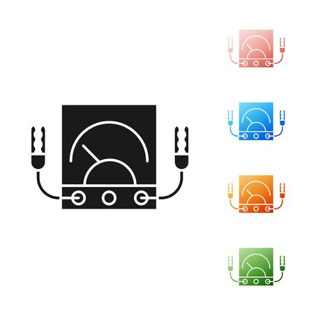 Black Ampere meter, multimeter, voltmeter icon isolated on white background. Instruments for measurement of electric current. Set icons colorful. Vector Illustration