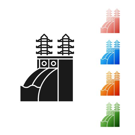 Black Nuclear power plant icon isolated on white background. Energy industrial concept. Set icons colorful. Vector Illustration Иллюстрация