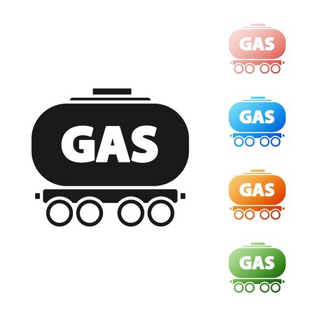 Black Gas railway cistern icon isolated on white background. Train gasoline tank on railway car. Rail freight. Set icons colorful. Vector Illustration