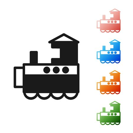 Black Toy train icon isolated on white background. Set icons colorful. Vector Illustration