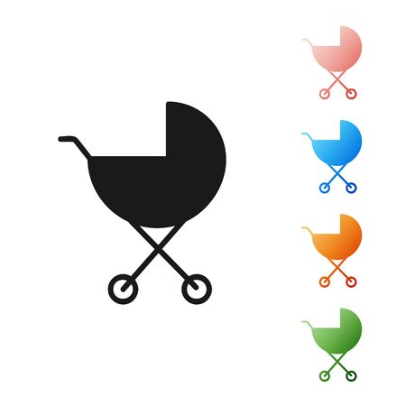 Black Baby stroller icon isolated on white background. Baby carriage, buggy, pram, stroller, wheel. Set icons colorful. Vector Illustration