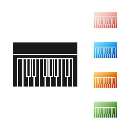 Black Music synthesizer icon isolated on white background. Electronic piano. Set icons colorful. Vector Illustration Foto de archivo - 134578411