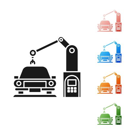 Black Industrial machine robotic robot arm hand on car factory icon isolated on white background. Industrial automation production automobile. Set icons colorful. Vector Illustration