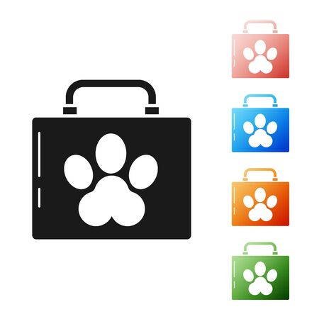 Black Pet first aid kit icon isolated on white background. Dog or cat paw print. Clinic box. Set icons colorful. Vector Illustration Zdjęcie Seryjne - 134581251