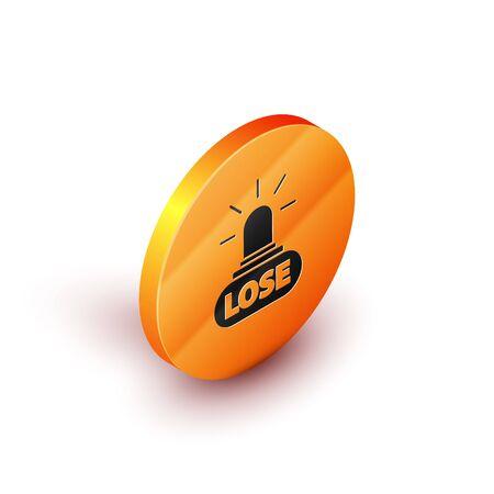 Isometric Casino losing icon isolated on white background. Orange circle button. Vector Illustration