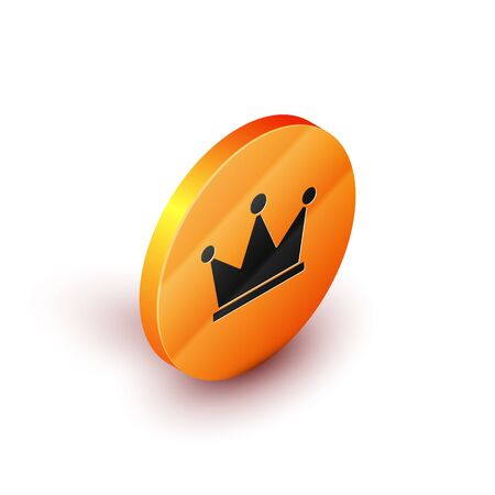 Isometric Crown icon isolated on white background. Orange circle button. Vector Illustration