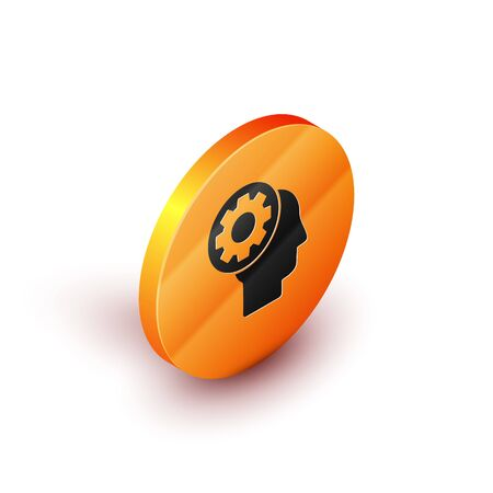 Isometric Human head with gear inside icon isolated on white background. Artificial intelligence. Thinking brain sign. Symbol work of brain. Orange circle button. Vector Illustration