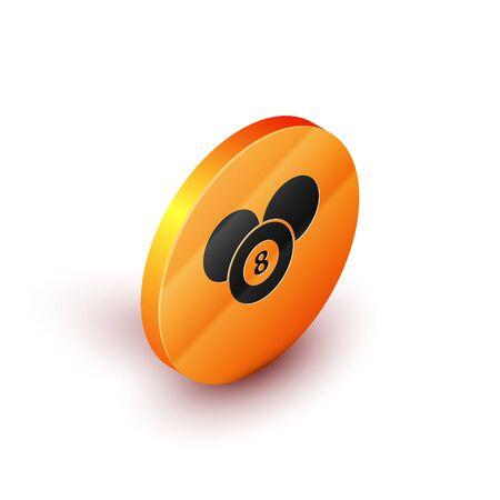 Isometric Billiard pool snooker 8 ball icon isolated on white background. Billiard eight ball. Orange circle button. Vector Illustration
