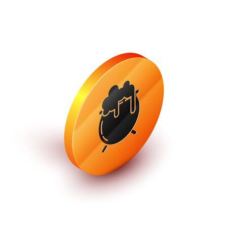 Isometric Witch cauldron icon isolated on white background. Happy Saint Patricks day. Orange circle button. Vector Illustration