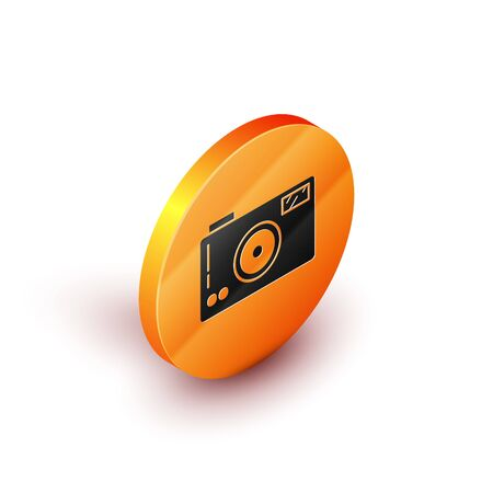Isometric Photo camera icon isolated on white background. Foto camera icon. Orange circle button. Vector Illustration Illusztráció