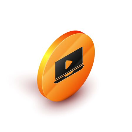 Isometric Online play video icon isolated on white background. Laptop and film strip with play sign. Orange circle button. Vector Illustration Illusztráció