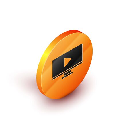 Isometric Online play video icon isolated on white background. Computer monitor and film strip with play sign. Orange circle button. Vector Illustration
