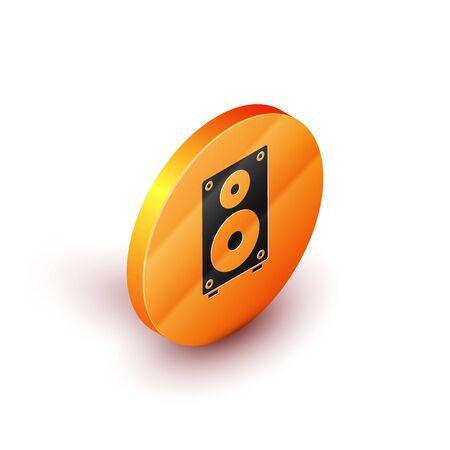 Isometric Stereo speaker icon isolated on white background. Sound system speakers. Music icon. Musical column speaker bass equipment. Orange circle button. Vector Illustration Ilustrace