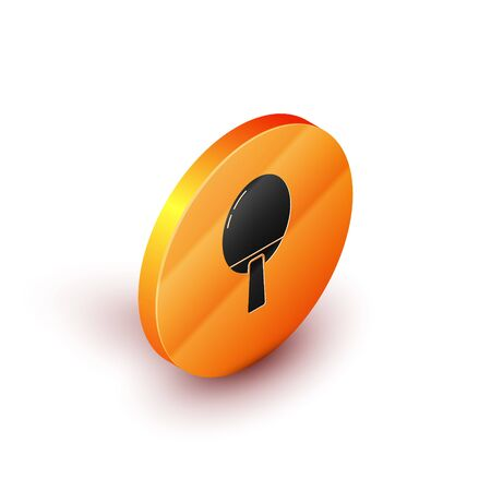 Isometric Racket for playing table tennis icon isolated on white background. Orange circle button. Vector Illustration