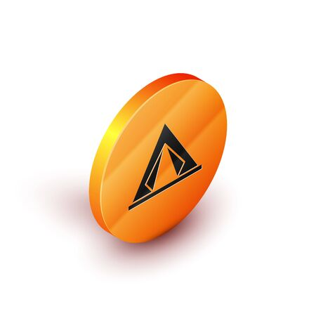 Isometric Tourist tent icon isolated on white background. Camping symbol. Orange circle button. Vector Illustration
