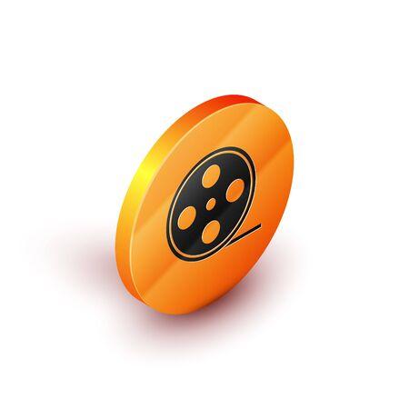 Isometric Film reel icon isolated on white background. Orange circle button. Vector Illustration