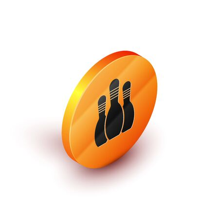Isometric Bowling pin icon isolated on white background. Orange circle button. Vector Illustration