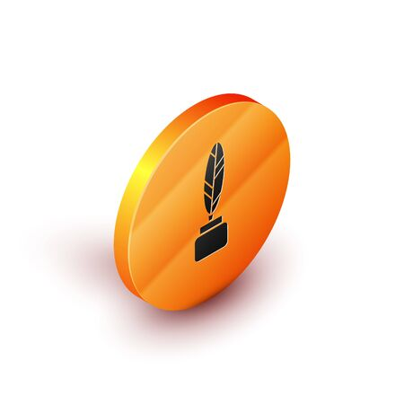 Isometric Feather and inkwell icon isolated on white background. Orange circle button. Vector Illustration 向量圖像