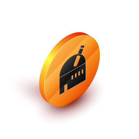 Isometric Astronomical observatory icon isolated on white background. Observatory with a telescope. Scientific institution. Orange circle button. Vector Illustration Banque d'images - 134691417