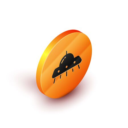 Isometric UFO flying spaceship icon isolated on white background. Flying saucer. Alien space ship. Futuristic unknown flying object. Orange circle button. Vector Illustration Banque d'images - 134691449