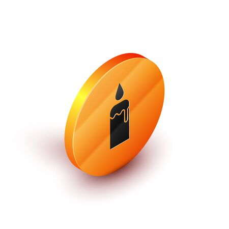 Isometric Burning candle in candlestick icon isolated on white background. Cylindrical candle stick with burning flame. Orange circle button. Vector Illustration