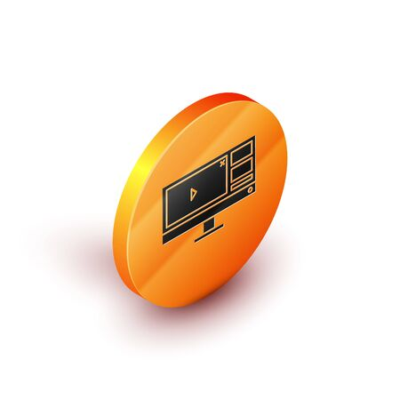Isometric Video recorder or editor software on computer monitor icon isolated on white background. Orange circle button. Vector Illustration