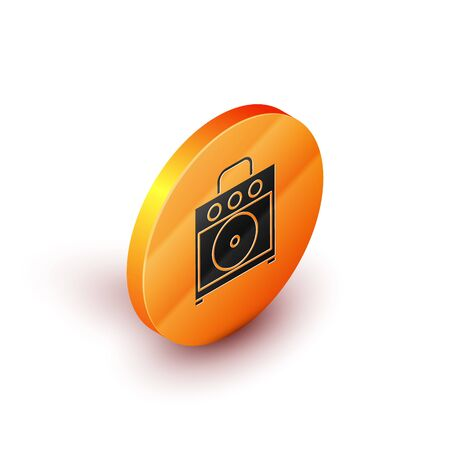 Isometric Guitar amplifier icon isolated on white background. Musical instrument. Orange circle button. Vector Illustration Ilustrace