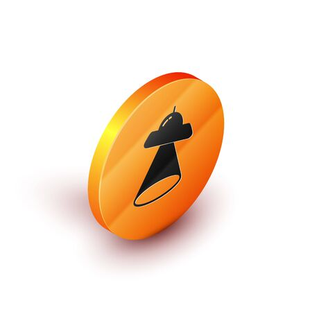 Isometric UFO flying spaceship icon isolated on white background. Flying saucer. Alien space ship. Futuristic unknown flying object. Orange circle button. Vector Illustration 向量圖像