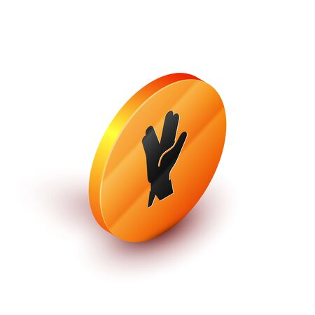Isometric Vulcan salute icon isolated on white background. Hand with vulcan greet. Spock symbol. Orange circle button. Vector Illustration