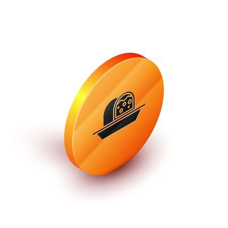 Isometric Marzipan sponge cake icon isolated on white background. Merry Christmas and Happy New Year. Orange circle button. Vector Illustration Ilustração