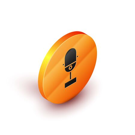 Isometric Microphone icon isolated on white background. On air radio mic microphone. Speaker sign. Orange circle button. Vector Illustration