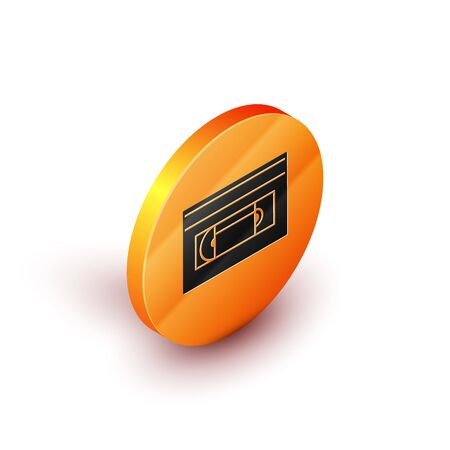 Isometric VHS video cassette tape icon isolated on white background. Orange circle button. Vector Illustration