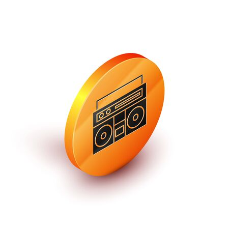 Isometric Home stereo with two speakers icon isolated on white background. Music system. Orange circle button. Vector Illustration
